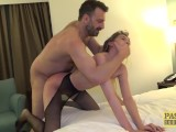 Pretty English subslut throated and pussy rammed roughly
